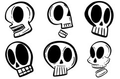 34 Cartoon Human Skulls Collection for Halloween and Spooky Product Image 3