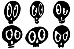 32 Black and White Cartoon Skulls Collection for Halloween Product Image 5