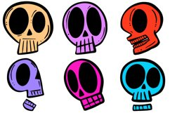 34 Cartoon Human Skulls Collection for Halloween and Spooky Product Image 6