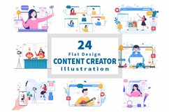24 Content Creator Online Blogger Vector Illustration Product Image 1