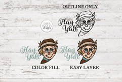 Hay Y'all Scarecrow SVG | Fall Round Sign Design Product Image 2