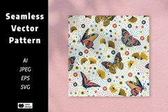 Flowers and Butterflies Vector Seamless Pattern Product Image 1