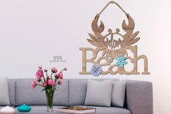 Welcome To The Beach Crab Sign SVG Glowforge Laser Files Product Image 2