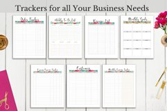 Craft business trackers, expense tracker, order tracker, customer tracker, monthly goals, weekly planner.