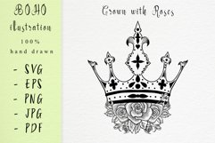 Boho illustration /Crown With Roses Product Image 1