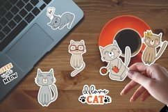 Doodle cats printable cricut stickers. PNG, JPG, EPS. Product Image 3