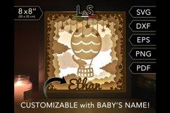 Customizable baby elephant lighted shadow box