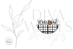 Welcome With Pumpkin And Plaid SVG | Farmhouse Fall Door Han Product Image 4