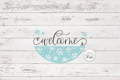 Welcome with Snowflake Half Round SVG   Winter Design Product Image 2