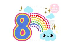 8th Birthday svg | My 8th Birthday svg | Rainbow Birthday Product Image 1