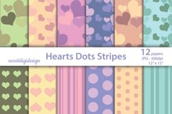Pastel hearts digital paper, seamless heart backgrounds Product Image 1
