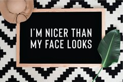 I'm nicer than my face looks SVG, PNG, DXF, JPG, EPS Product Image 1