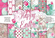 Watercolor Happy Easter digital paper pack 2 Product Image 1