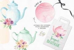 Watercolor Teapots Clipart Bouquets Flowers  Wonderland Florals  Tea Product Image 5
