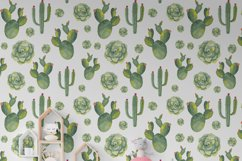 Watercolor succulents seamless pattern Cactus digital paper Product Image 5