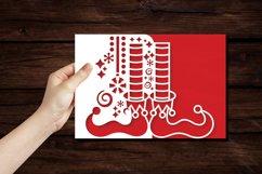 Papercut Elf Legs Card Cover, Christmas Invitation Design Product Image 3