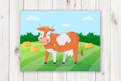 Cartoon cows cute vector set Product Image 3
