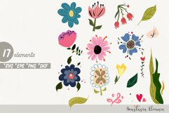 Wild flowers clipart in svg dxf png eps for commercial use Product Image 1