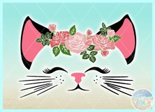 Cat Face With Roses Svg Dxf Eps Png Pdf Files Product Image 2