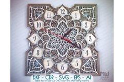 C16 - Laser Cut Wall Clock DXF, Mandala Clock, Wooden Clock Product Image 1