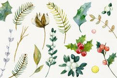 Watercolor cliparts of Christmas elements and flowers Product Image 5