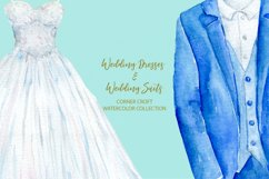 Watercolor wedding outfit on hangers and cloth hooks Product Image 7