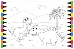 Coloring Cute Dinosaur For Kids, Simple Vector Illustration Product Image 1