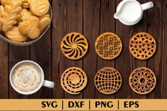 Bundle of Decorative Circle Coasters. Coaster SVG. Laser cut Product Image 5