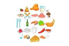 Pizza icons set, cartoon style Product Image 1