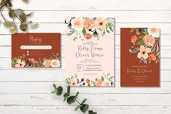 Terracotta Peach Floral Wedding Invitation Set Product Image 2