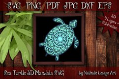 3D SVG Mandala Sea Turtle 4 Layers Cutting File Sublimation Product Image 1