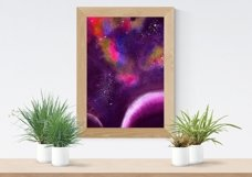 Space Poster. Three Watercolor Backgrounds Product Image 4
