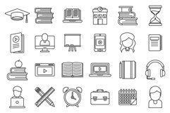 Tutor teacher icons set, outline style Product Image 1
