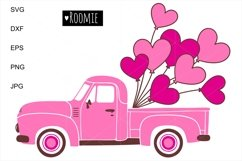 Pink truck Svg, Retro car, Hearts svg, i love you Shirt Card Product Image 2