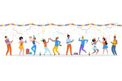 Cartoon party people. Trendy happy dancing group of men and Product Image 1