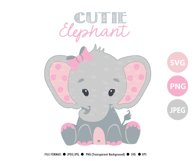 Pink and grey baby elephant SVG, clip art, cricut file PNG Product Image 2