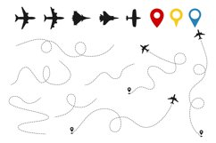 Plane paths vector. Aircraft tracking, planes silhouettes, l Product Image 1