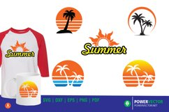 Summer Clipart Set SVG - Sunset, Palm Tree Vector Art Product Image 1