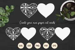 Mandala heart paper cut template | SVG layered hearts bundle Product Image 2