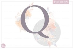 Letter Q Floral MONOGRAM - elegant wedding flower initial Product Image 2