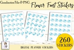 Flower Font Digital Printable Labels Stickers Goodnotes Product Image 2