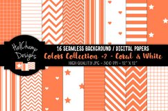 16 seamless Digital Papers - Coral and White- HC161 Product Image 1