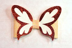 4 Hair bow template SVG, Butterfly faux leather bow template Product Image 4