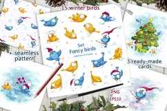 Fancy winter birds. Stickers, clipart. Product Image 1
