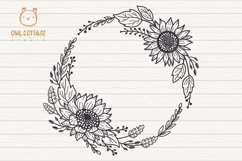 Sunflower Fall Wreath svg, floral monograms mini bundle Product Image 2