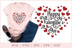 Valentine heart SVG, Happy Valentine's Day SVG Product Image 1