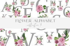 Festive alphabet watercolor in flowers png 26 letters Product Image 1