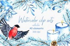 Watercolor winter clip arts. 40 elements, PNG 300dpi Product Image 1