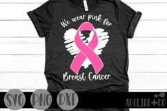 We wear pink for Breast Cancer, SVG, ribbon Product Image 1
