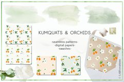 Kumquat & white orchids. Watercolors clipart collection. Product Image 4